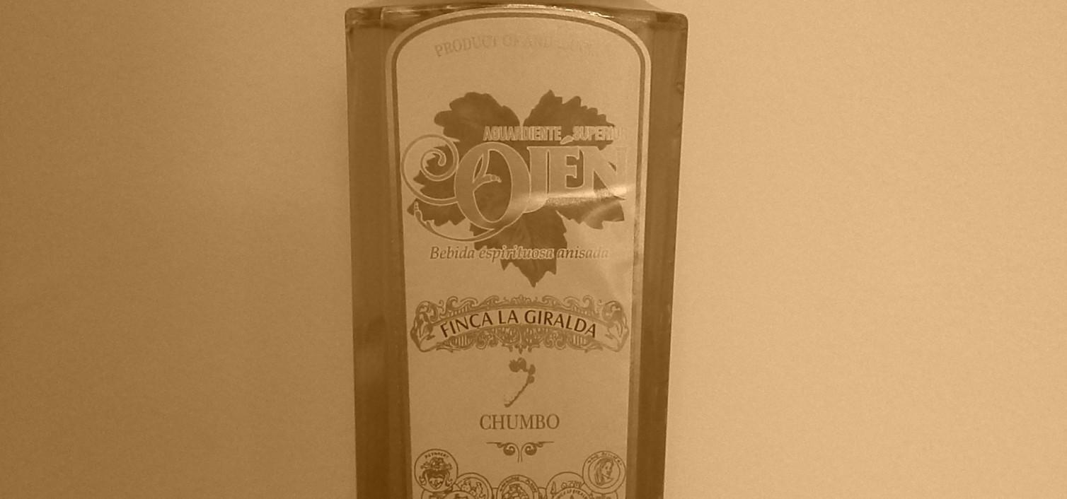 Botella de aguardiente de chumbos de Ojén
