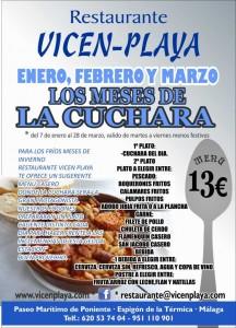 El restaurante Vicen Playa cuenta hasta finales de marzon con un menú que incluye un guiso de cuchara.