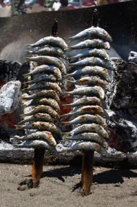 Espetos de sardinas en Vicen Playa (Málaga).