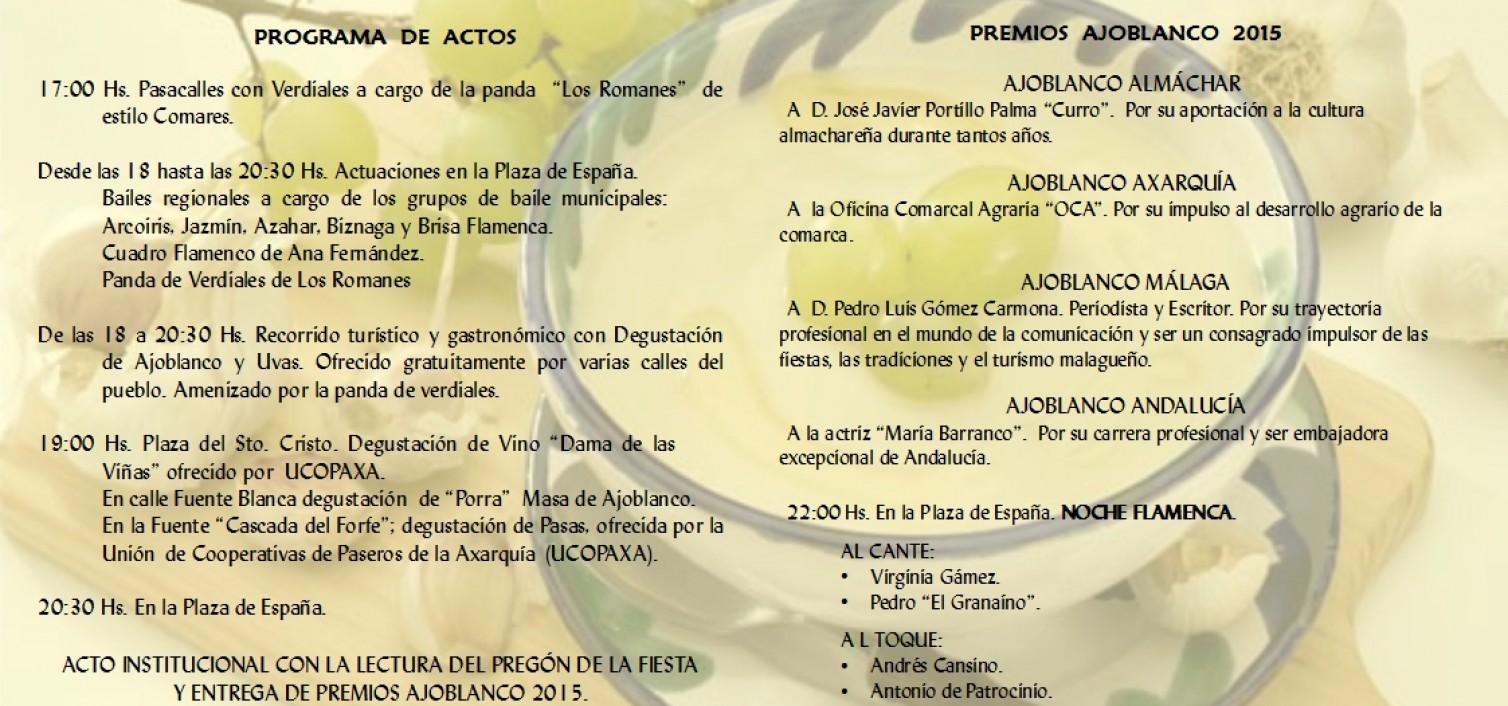 Programa de actividades Ajoblanco 2015