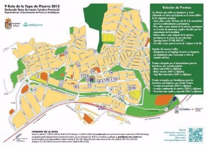 Plano de la ruta de la tapa de Pizarra 2015
