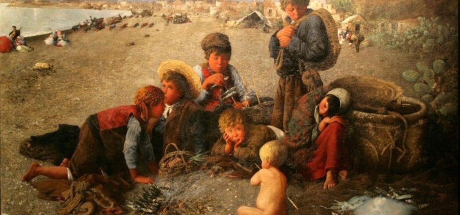 Horacio Lengo (Málaga, 1838; Madrid, 1890). La moraga (1879). Óleo sobre lienzo, 290 x 220 cm. Museo del Patrimonio Municipal de Málaga.