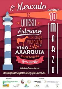 Cartel del Mercado del Queso Artesano de la Cabra Malagueña y Vino de la Axarquía 2019.