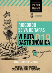Cartel de la Ruta gastronómica Riogordo se va de tapas.