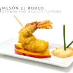 Gambón Marinado en Tempura Sobre Cama de Mango a la Plancha y Mayonesa de Kimchi (Meson el Rodeo)