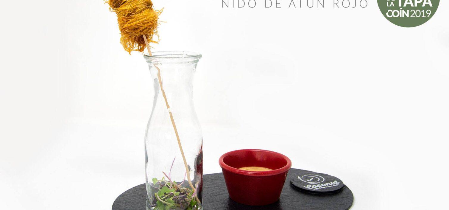 Nido de Atún Rojo Macerado en Soja Liado en Pasta Kataifi con Mayonesa 1.1 y Brotes Tiernos de Coín (Coconut Cafe & Tapas con Arte)