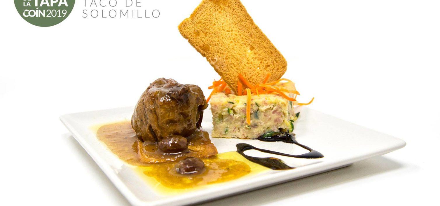 Taco de Solomillo en Salsa Malagueña con Pastel de Calabacín ( Cafeteria Bar Zürich)