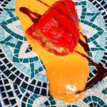 Tapa de Restaurante Piquillo de gambas y arroz en salsa de anchoas. Taberna Tapería El Convento, ubicado en calle Los Moros.